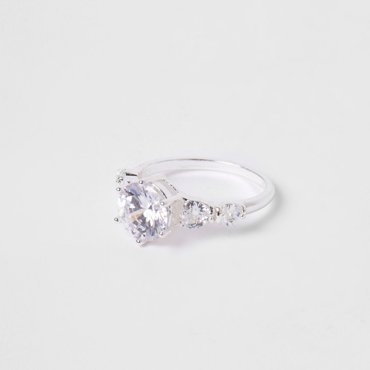 Silver tone Cubic zirconia rhinestone ring