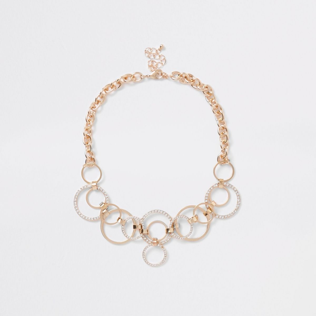 Gold tone pave ring chain statement necklace