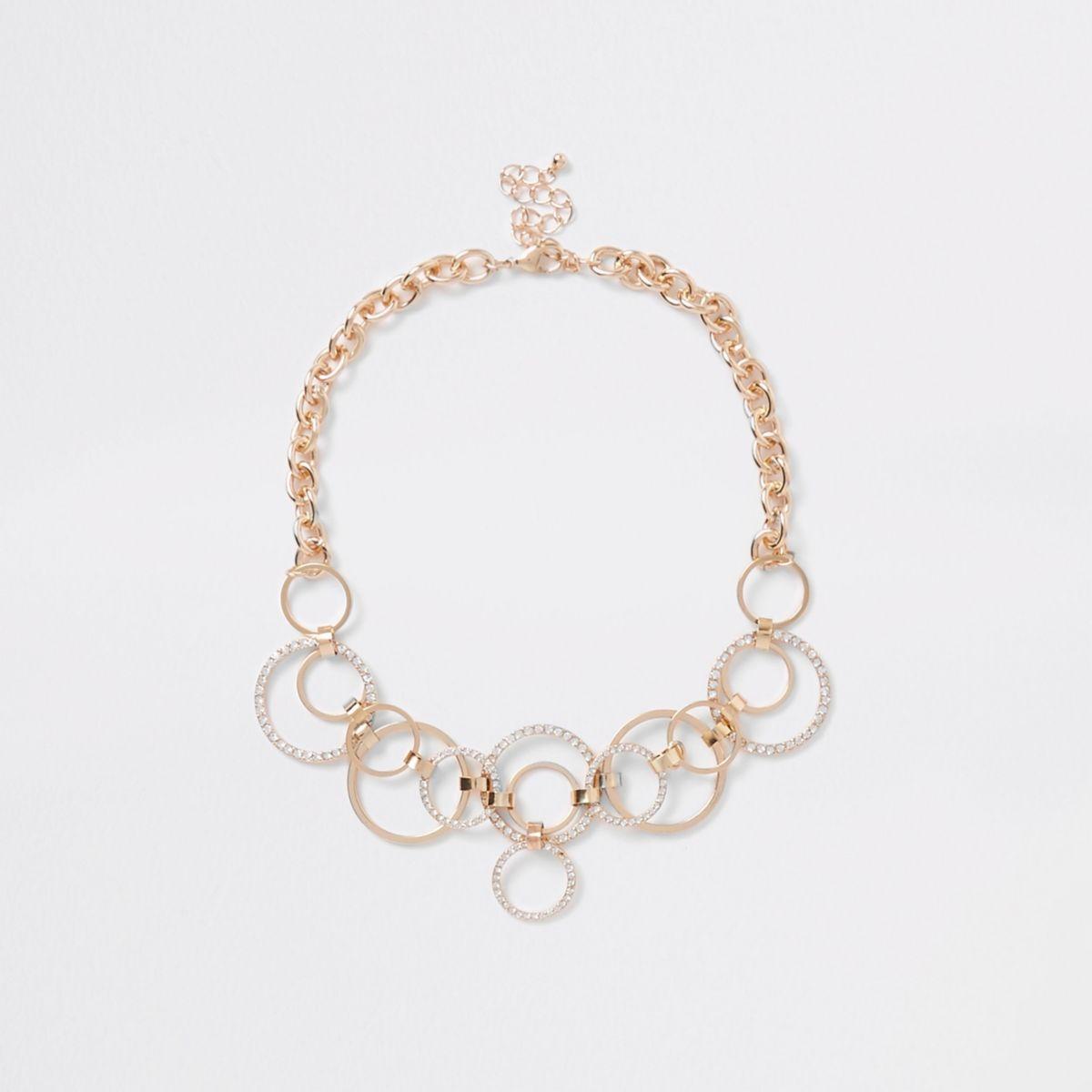 Goudkleurige statement-ketting met ringen