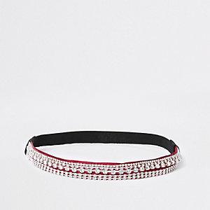 Rotes, strassverziertes Haarband