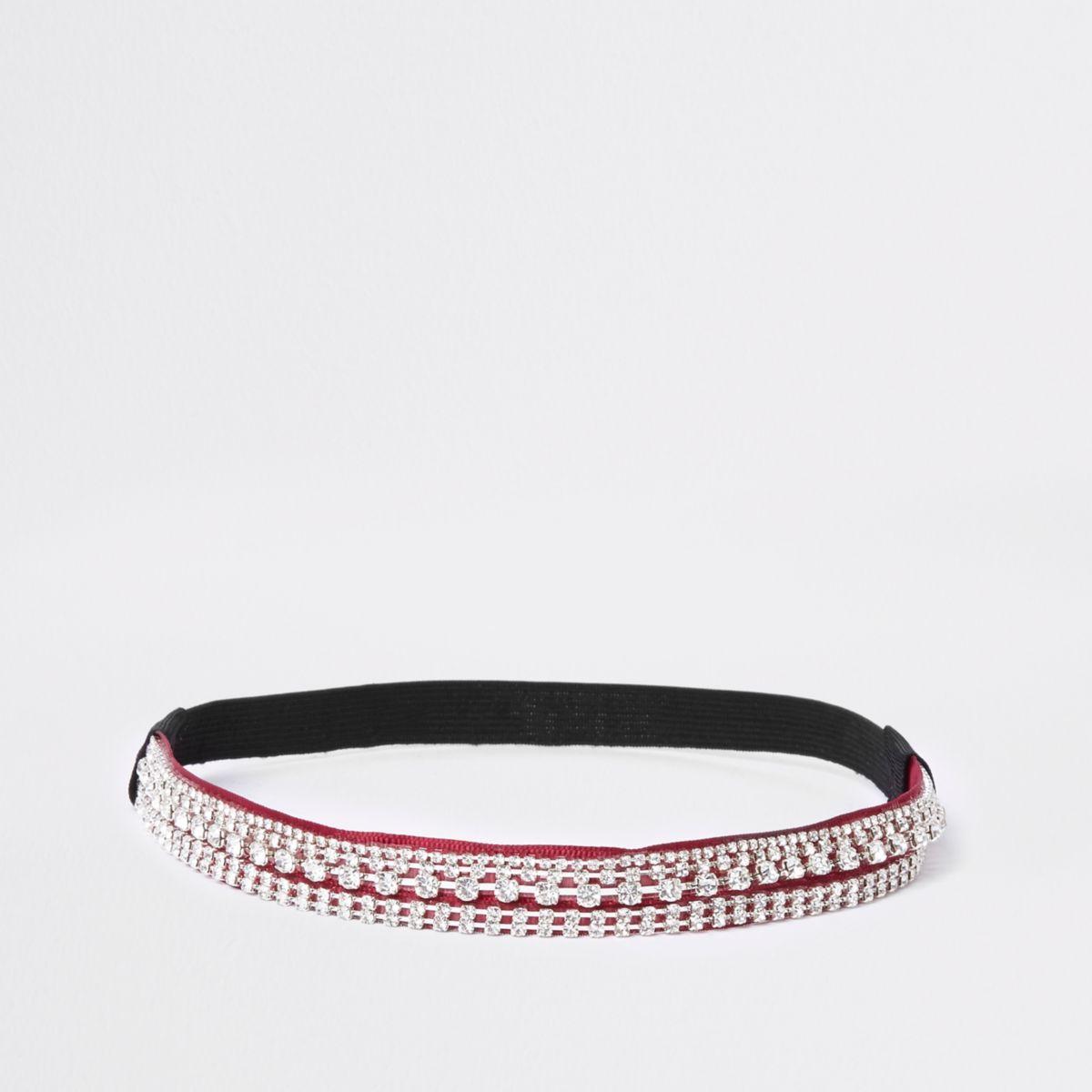 Red rhinestone embellished headband