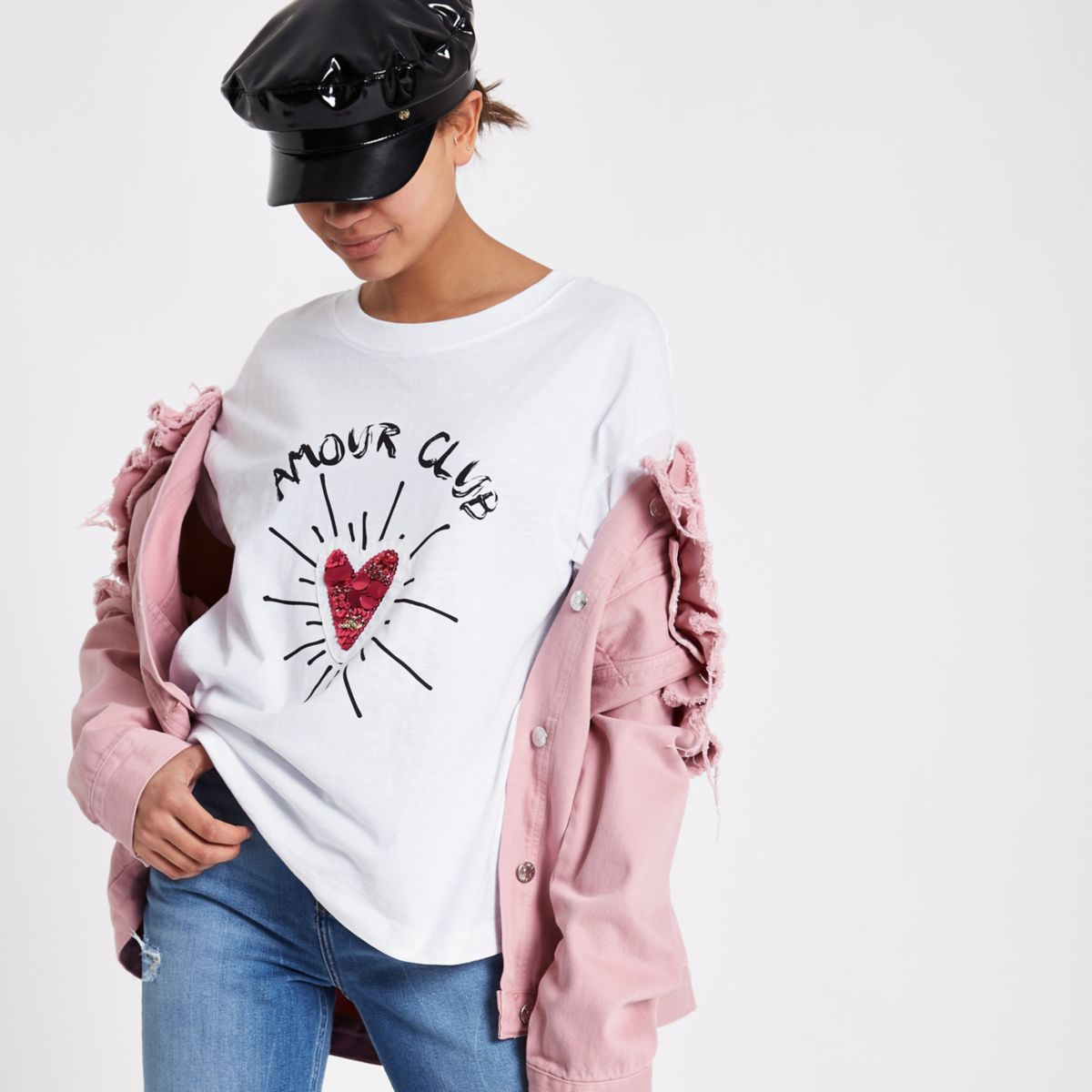 White 'amour club' sequin heart T-shirt