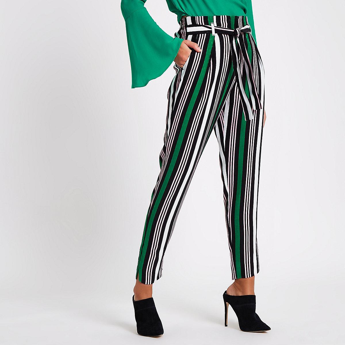 Green stripe print tapered tie waist trousers