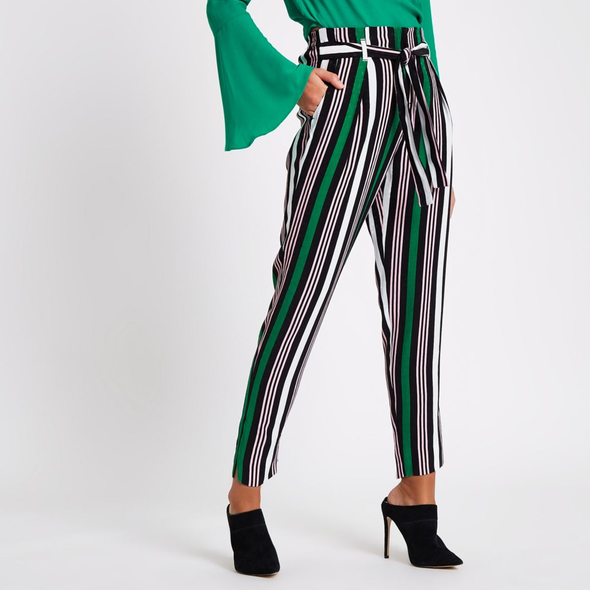 Green stripe print tapered tie waist pants