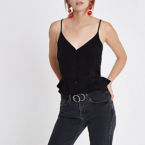 Black peplum hem button front cami top