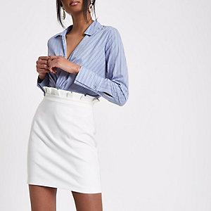 White paperbag mini skirt