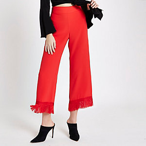 Jupe-culotte courte rouge à pampilles