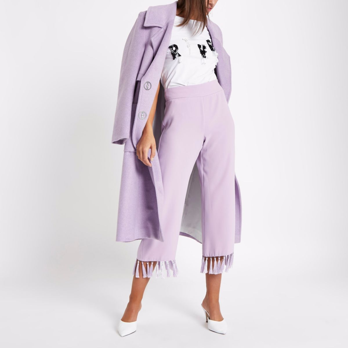 Lilac purple tassel hem crop trousers