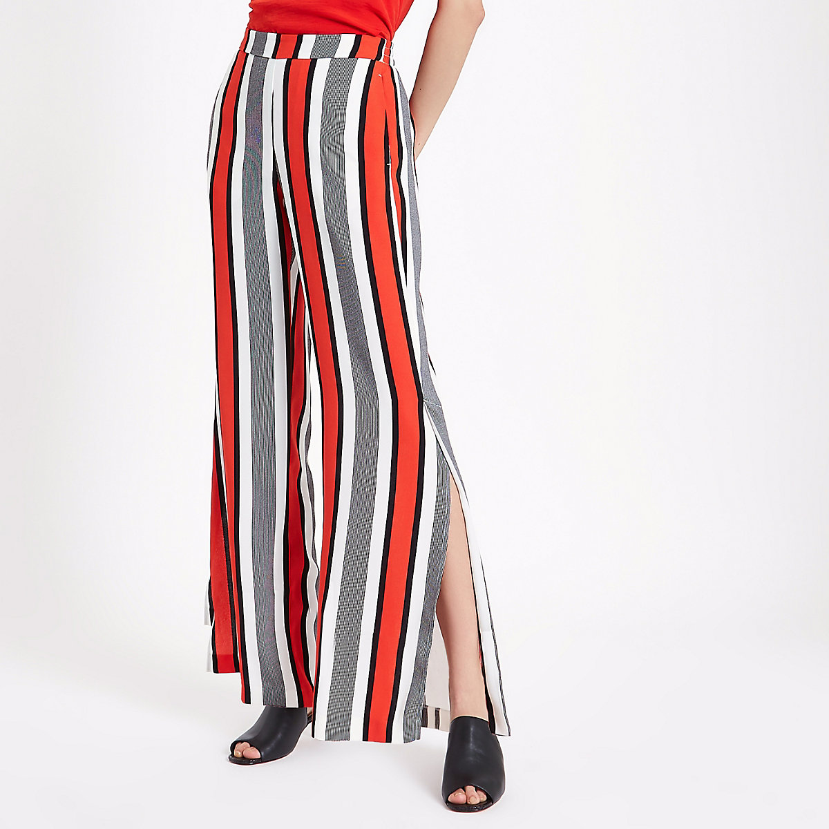 Red stripe wide leg trousers