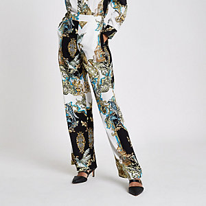 Blue baroque wide leg pyjama trousers