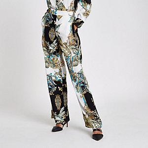 Pantalon de pyjama large motif baroque  crème