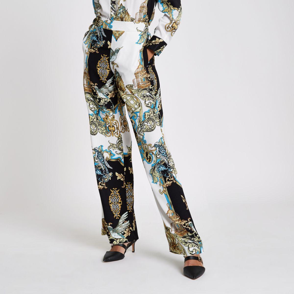 Cream baroque wide leg pajama pants