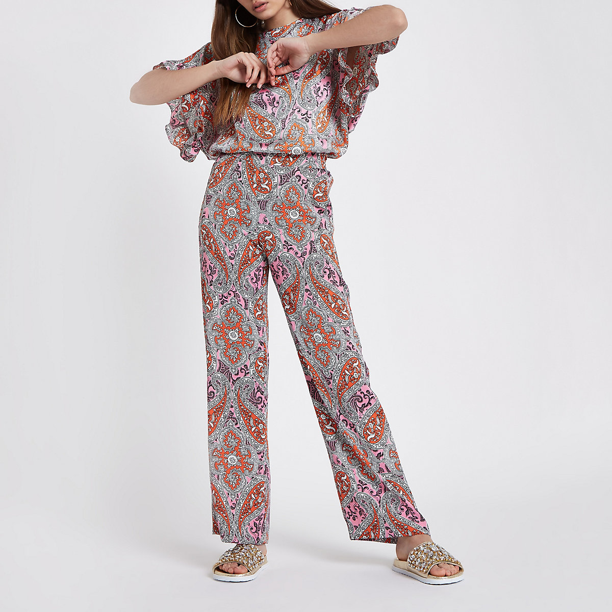 Orange paisley print wide leg trousers