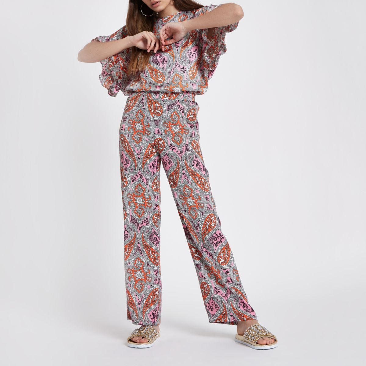 Orange paisley print wide leg pants