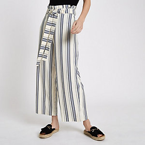Blue stripe paperbag belted culottes