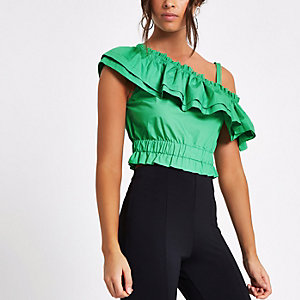 Green one shoulder crop top