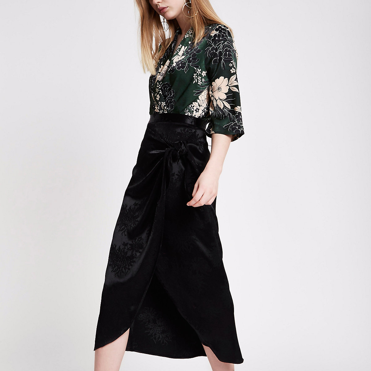 Black satin jacquard tie front pencil skirt