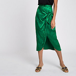 Green jacquard tie knot wrap skirt