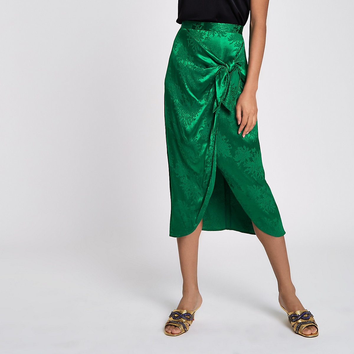 Green jacquard tie knot wrap skirt
