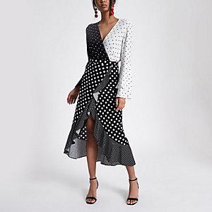 Black polka dot frill wrap midi skirt