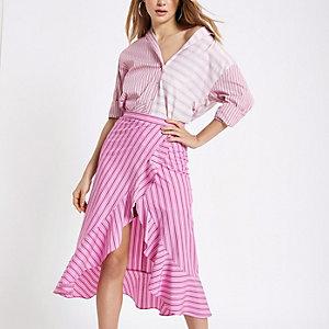 Pink stripe frill hem skirt