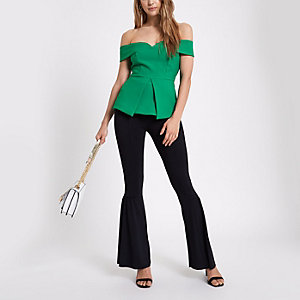 Green structured bardot top