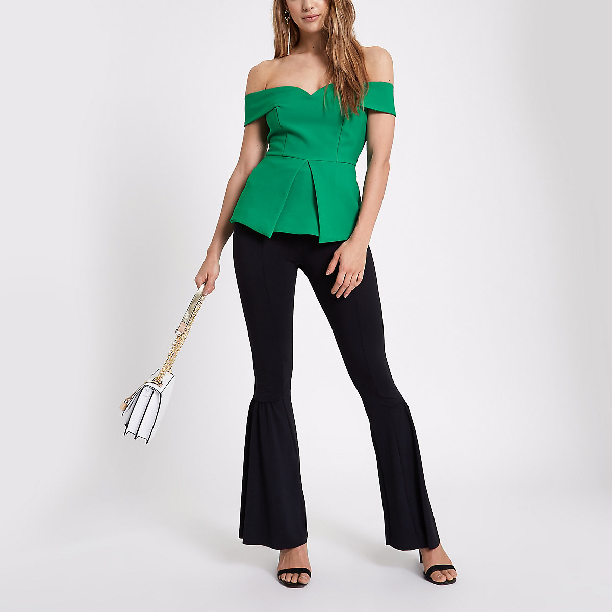 Green structured bardot top Green structured bardot top ...