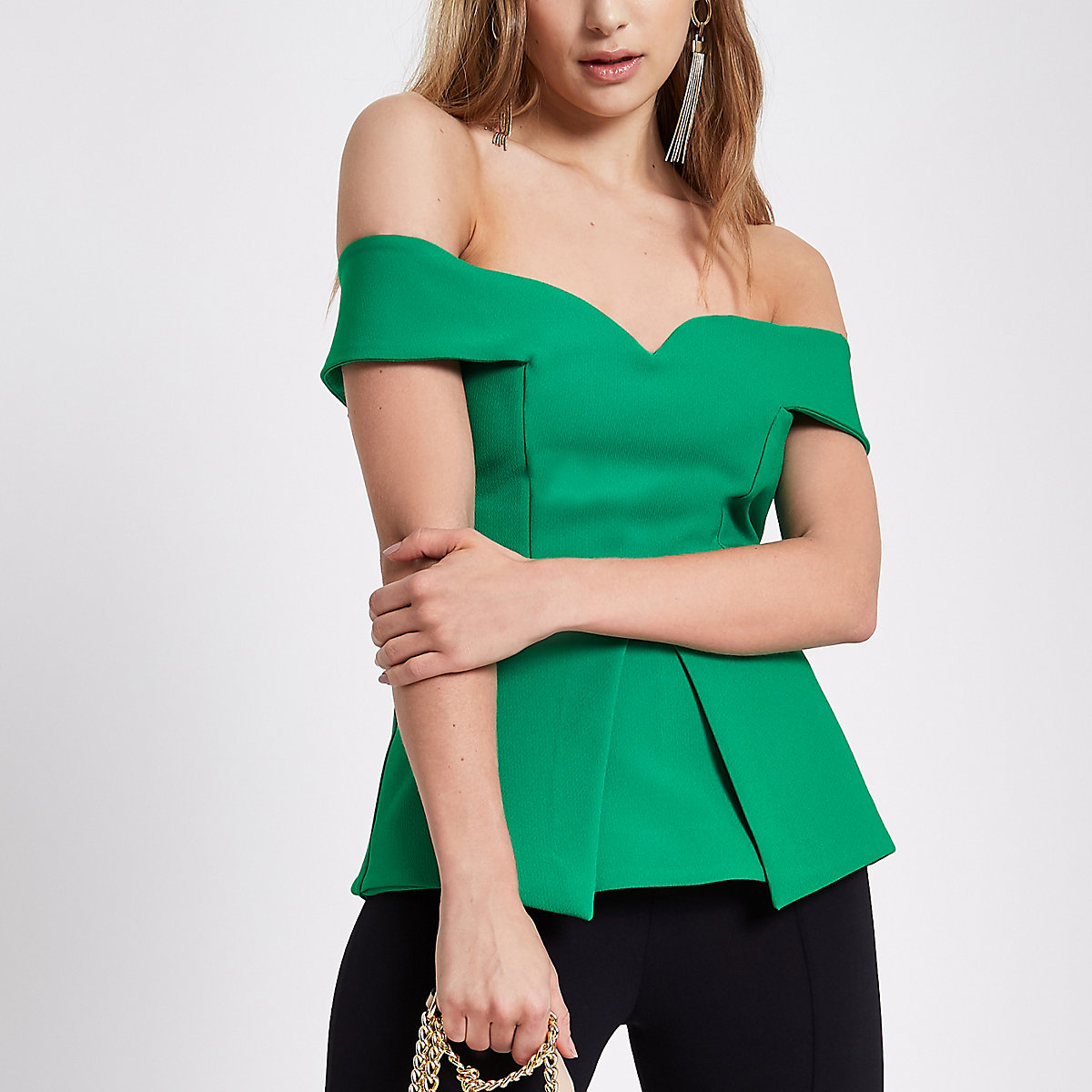 ... Green structured bardot top ...