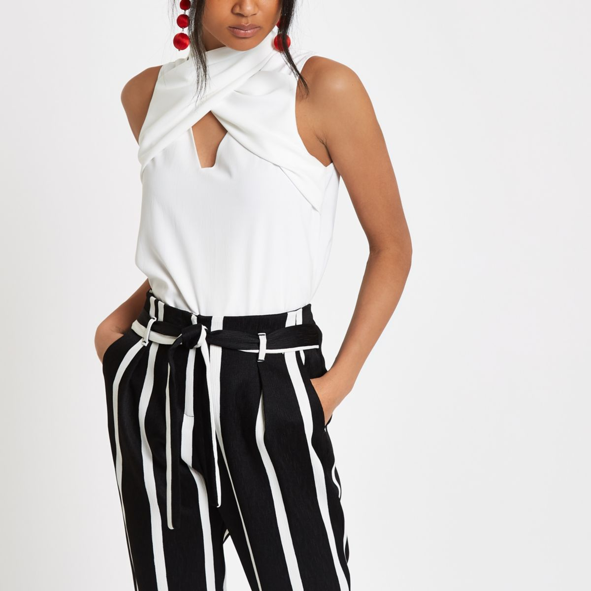 Cream wrap neck sleeveless top