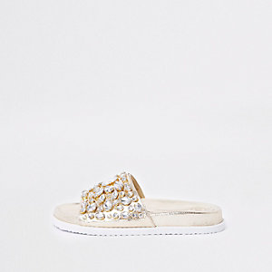 Gold metallic jewel embellished sliders