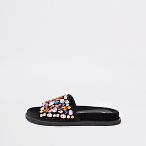 Black gem embellished sliders