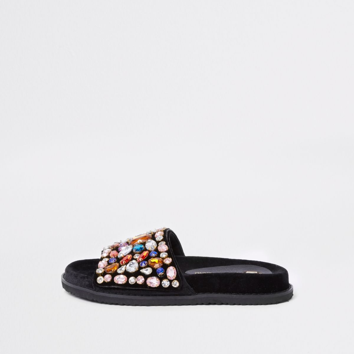 Black gem embellished sliders
