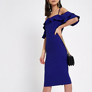 Robe Bardot ajustée bleu vif