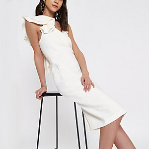 Cream frill shoulder bodycon midi dress