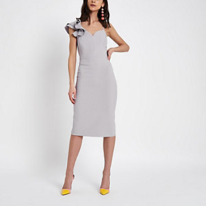 Purple frill shoulder bodycon midi dress