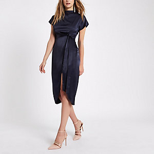 Navy thigh split cape sleeve dress
