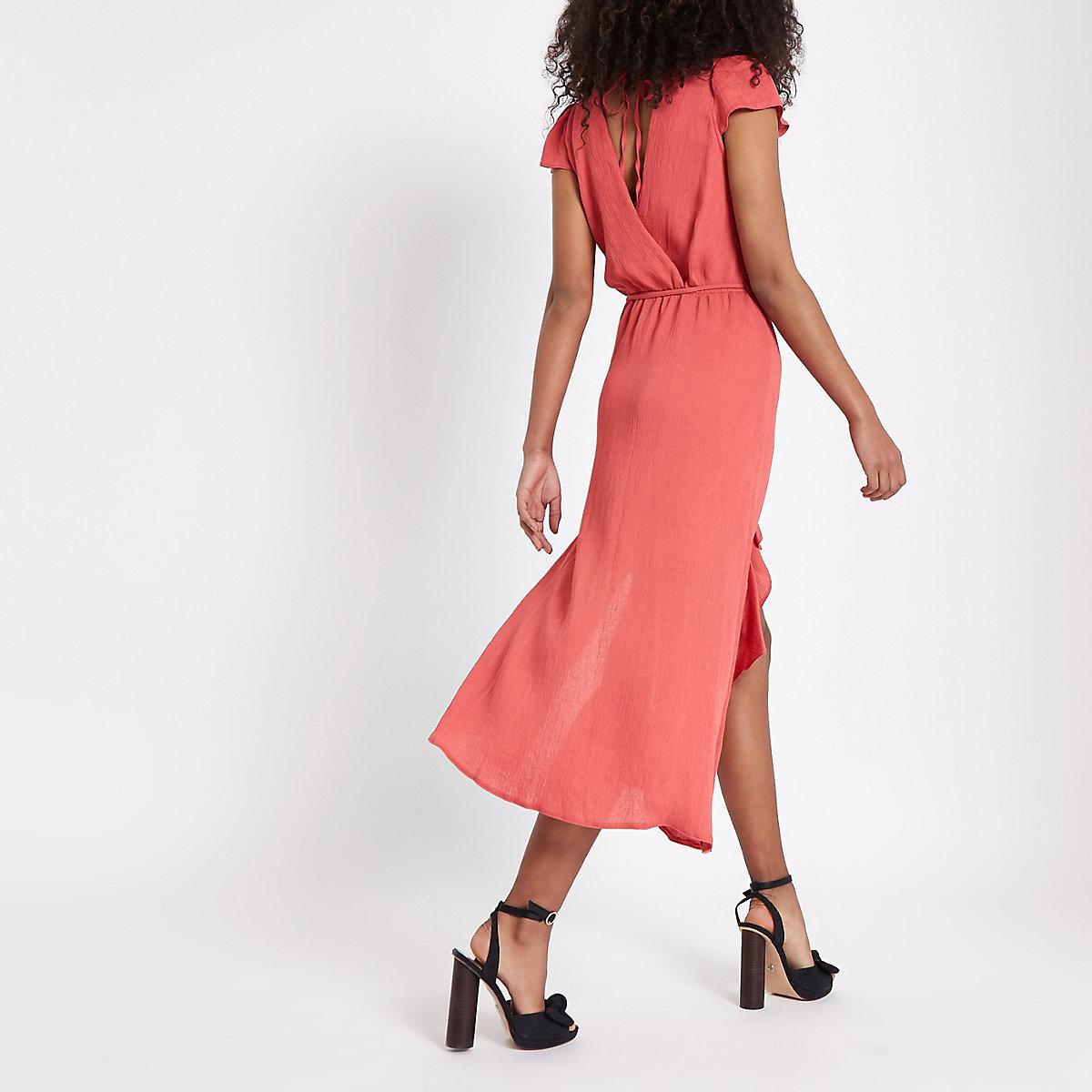 Pink frill tie waist midi dress - Swing Dresses - Dresses - women 2b5df059b