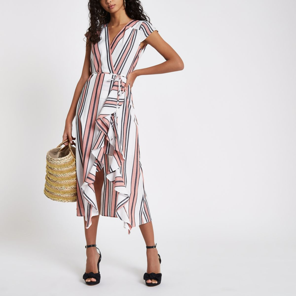 Pink stripe frill tie waist midi dress