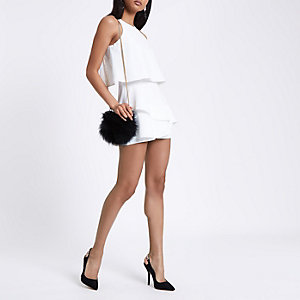 White tiered frill playsuit