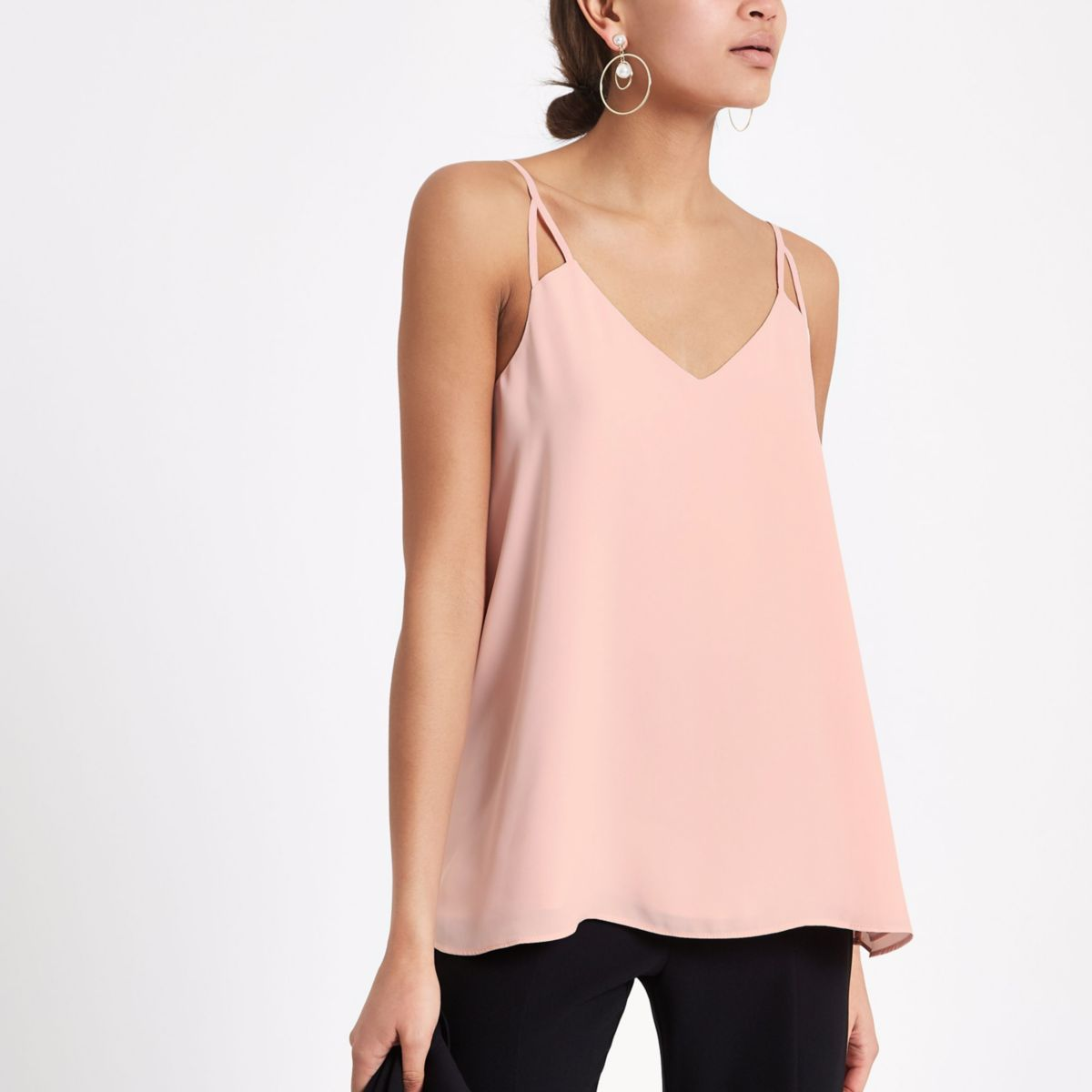 Light pink split strap cami top