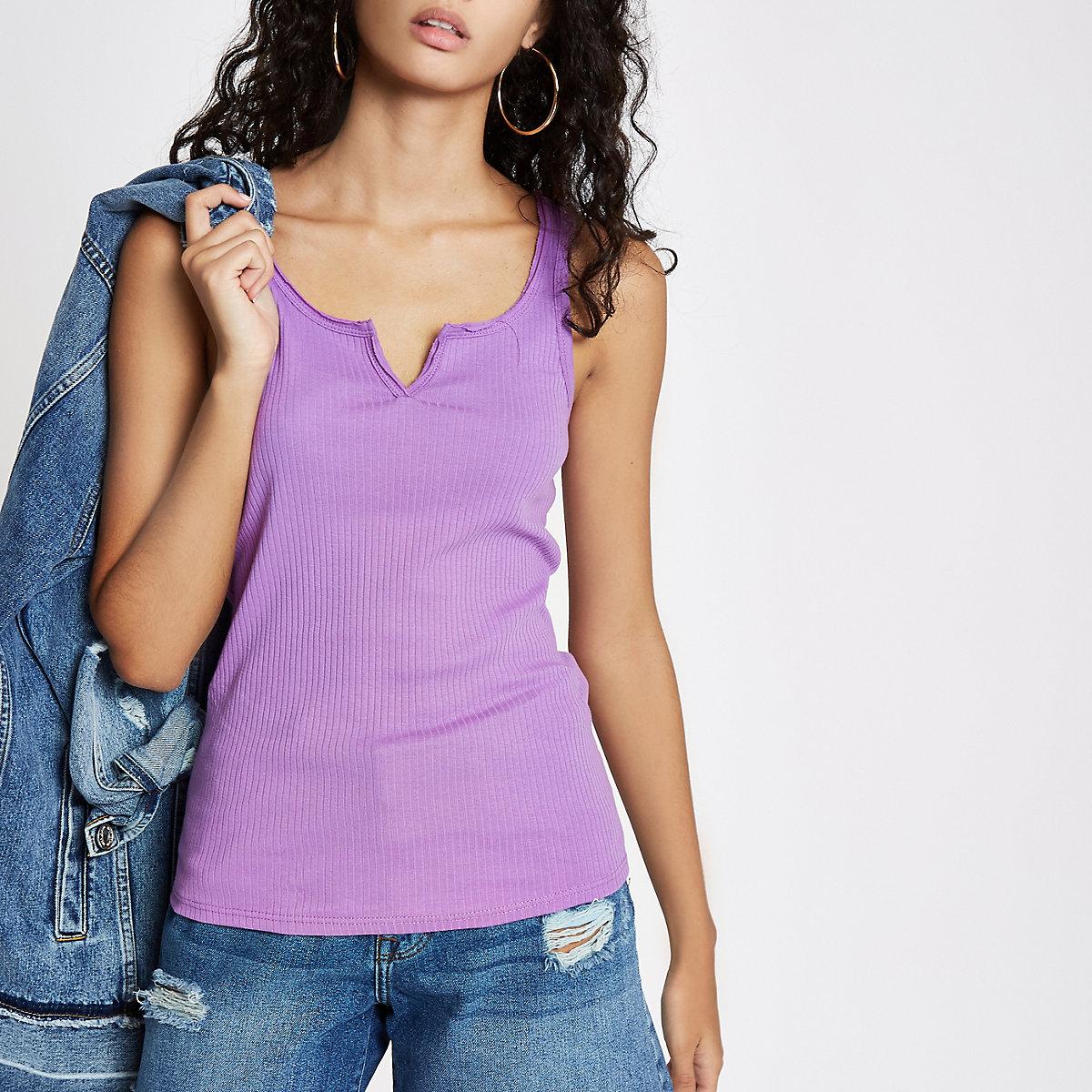 Purple notch front vest