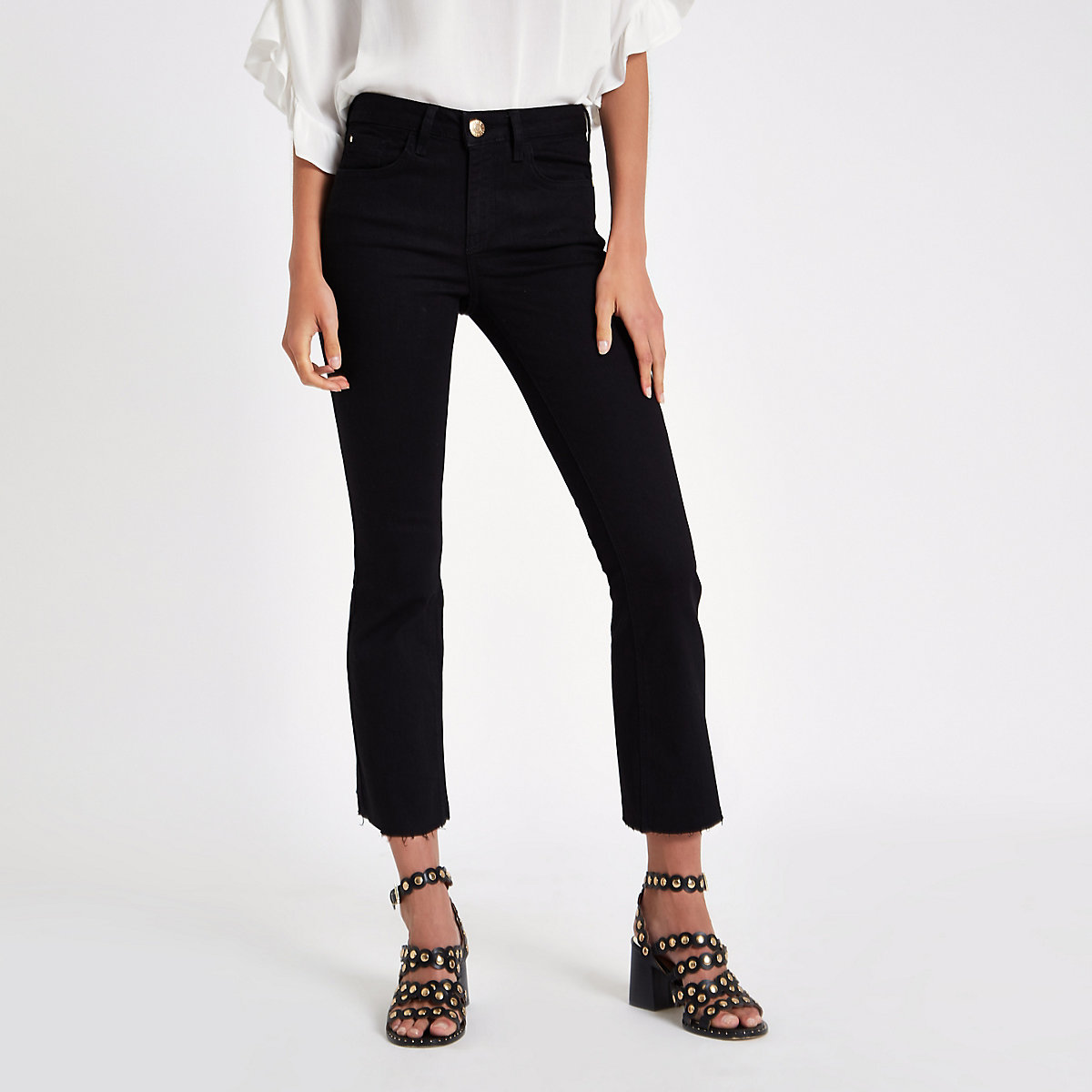 Black denim cropped flared jeans