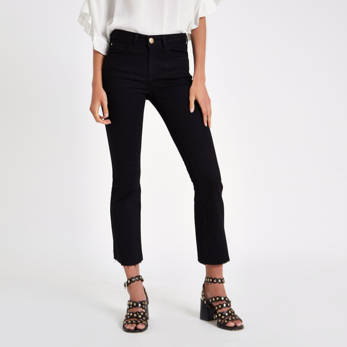 Black denim cropped flare jeans