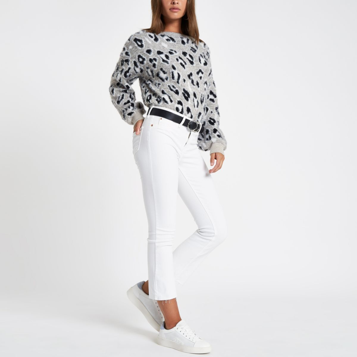 White denim cropped flare jeans