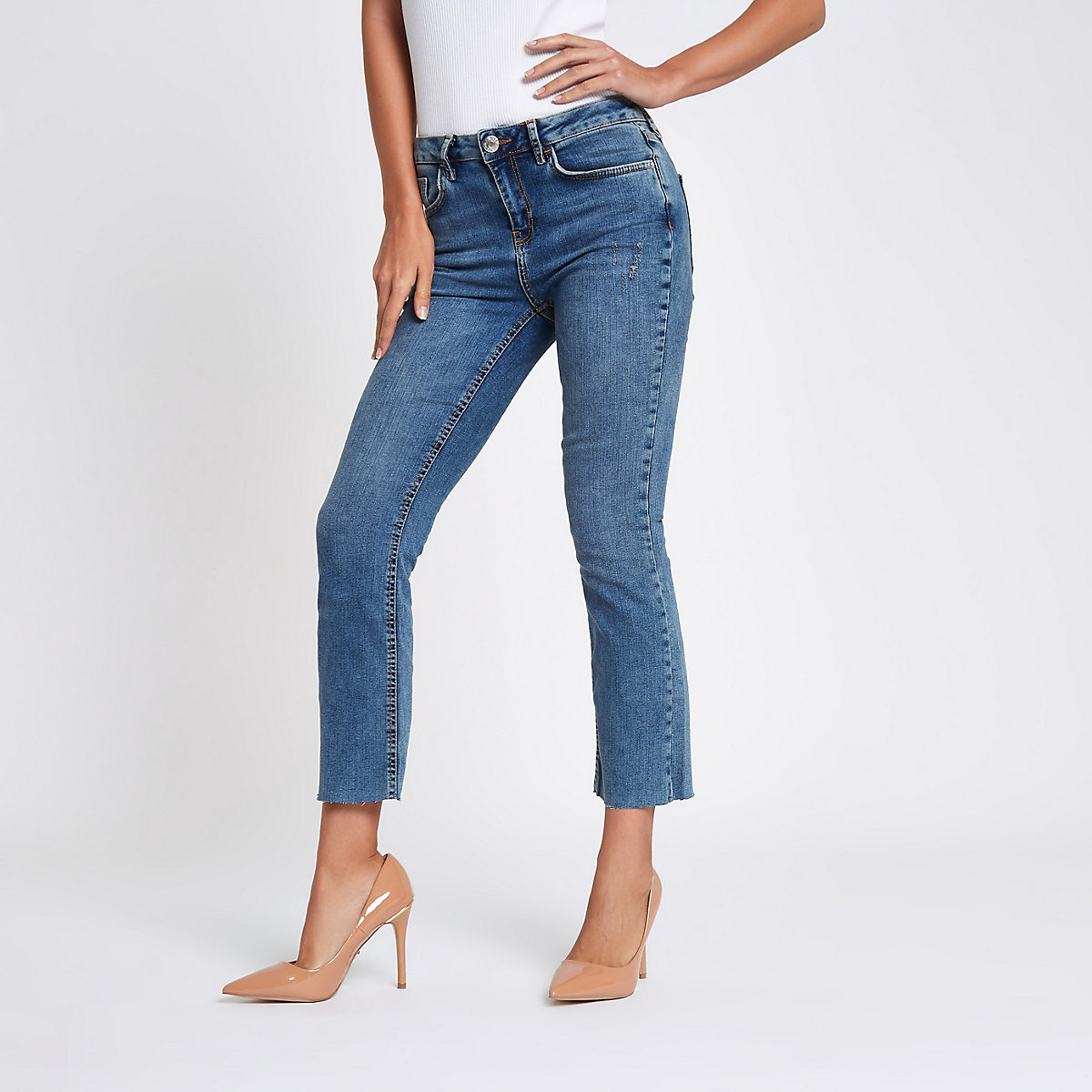 Blue denim cropped flared jeans