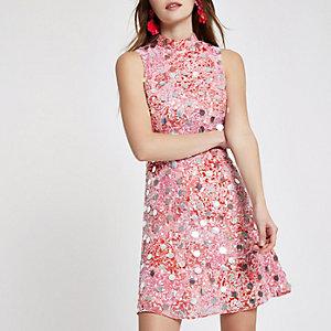 Paillettenverziertes Minikleid in Rosa