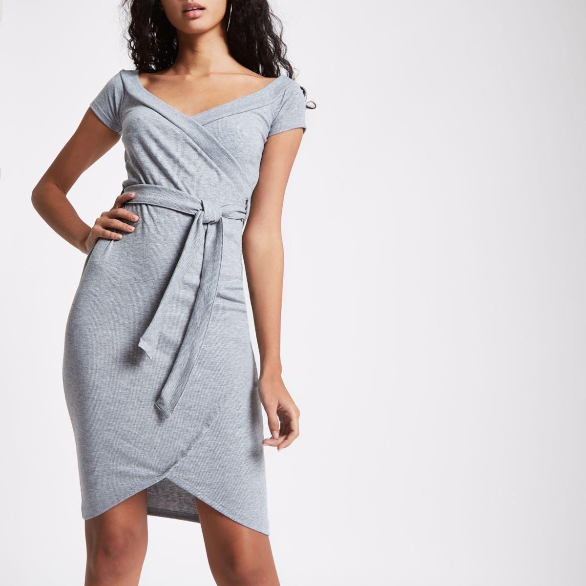 Grey tie front bardot bodycon dress