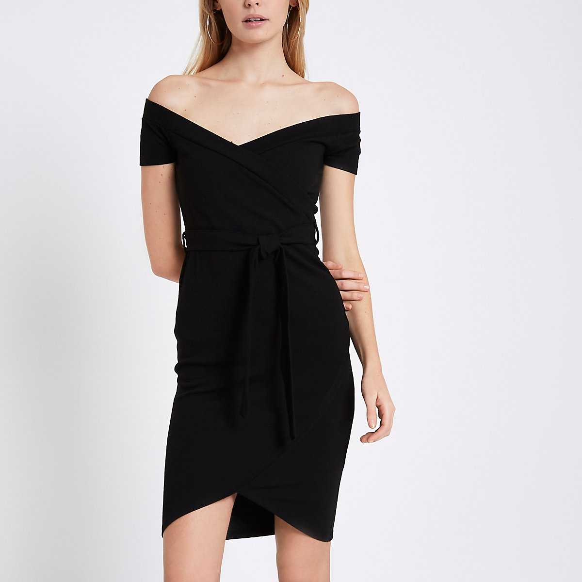 Black ribbed bardot bodycon dress