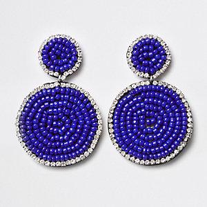 Blue seedbead circle drop earrings