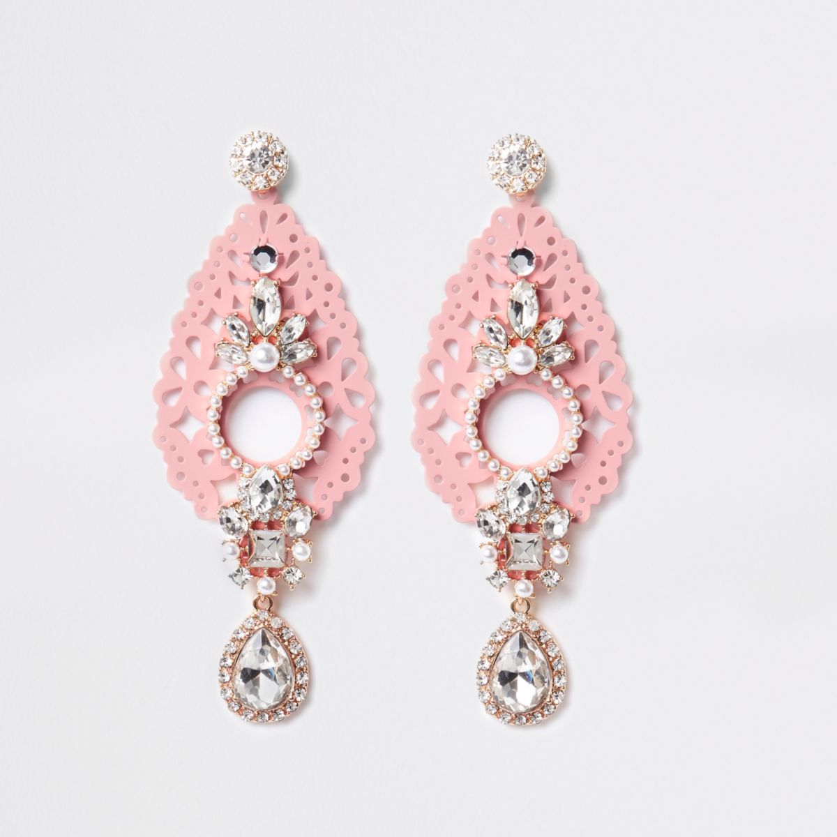 Pink gold tone filigree drop earrings